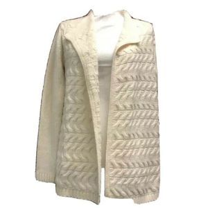 Talbots Womens Cardigan Sweater Ivory Cable SP